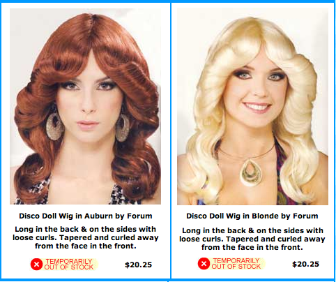 Good try here, but these are wigs. And I love that they are both out of stock.