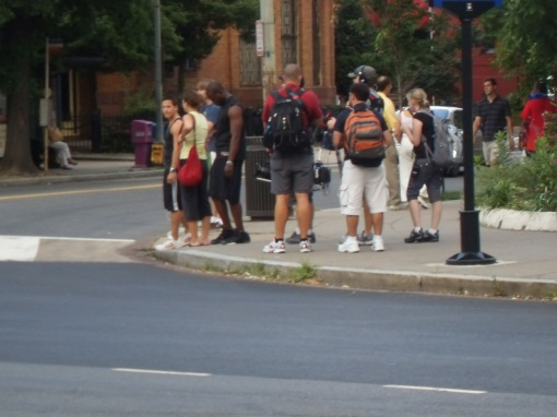 Walking around the circle, about to cross Mass Ave.